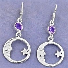 Natural purple amethyst 925 silver crescent moon star earrings d9383