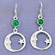 925 silver natural green chalcedony crescent moon star earrings d9384