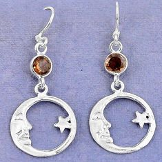 Brown smoky topaz 925 sterling silver crescent moon star earrings d9386
