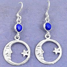 Natural blue lapis lazuli 925 silver crescent moon star earrings d9387