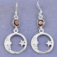 Brown smoky topaz 925 sterling silver crescent moon star earrings d9392