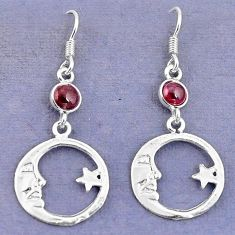 Natural red garnet 925 sterling silver crescent moon star earrings d9394