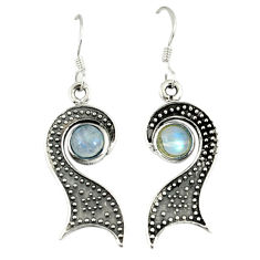 Clearance Sale- ver natural rainbow moonstone dangle earrings jewelry d9524