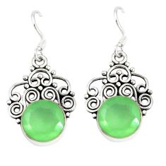 Natural green prehnite 925 sterling silver dangle earrings jewelry d9617
