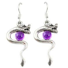 Natural purple amethyst 925 silver anaconda snake earrings d9846