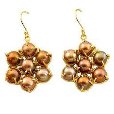 Copper pearl 14k gold over brass dangle earrings jewelry f1406