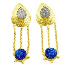 Silver druzy 14k gold over brass dangle earrings jewelry f1488