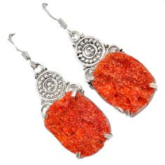 Orange druzy fancy shape 925 sterling silver dangle earrings jewelry j23250