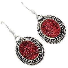 Red druzy oval shape 925 sterling silver dangle earrings jewelry j23282
