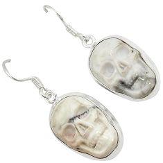 Natural white howlite 925 sterling silver skull dangle earrings jewelry j24974