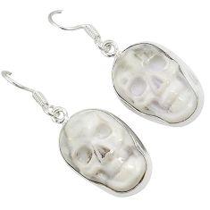 Natural white howlite 925 sterling silver skull dangle earrings jewelry j24975