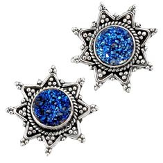 Blue titanium druzy 925 sterling silver stud earrings jewelry j25741