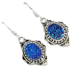 Blue titanium druzy oval 925 sterling silver dangle earrings jewelry j25743