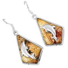 Natural brown picture jasper 925 silver dolphin earrings jewelry j30794