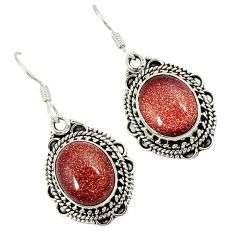 925 sterling silver natural brown goldstone dangle earrings jewelry j30925