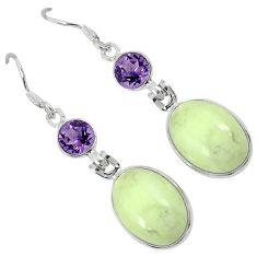 Natural green chrysoprase purple amethyst 925 silver dangle earrings j30937