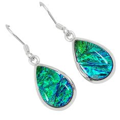 Multi color dichroic glass pear 925 sterling silver dangle earrings j30943