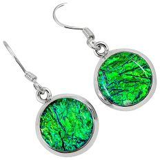 Multi color dichroic glass 925 sterling silver dangle earrings jewelry j30954