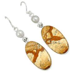 Natural multicolor picture jasper 925 silver dangle earrings jewelry j35488