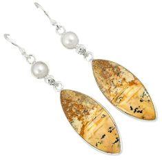 925 silver natural multicolor picture jasper dangle earrings jewelry j35490