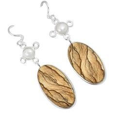 Natural brown picture jasper pearl 925 silver dangle earrings jewelry j38920