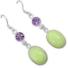 Natural lemon chrysoprase purple amethyst 925 silver dangle earrings j42145