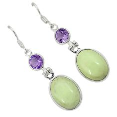 Natural lemon chrysoprase amethyst 925 silver dangle earrings jewelry j42177
