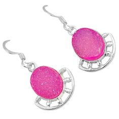 Pink druzy oval shape 925 sterling silver dangle earrings jewelry j42591