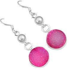 Pink druzy pearl 925 sterling silver dangle earrings jewelry j42626