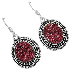 Red druzy oval shape 925 sterling silver dangle earrings jewelry j42631