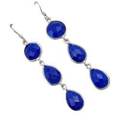 Blue jade 925 sterling silver dangle earrings jewelry j42718