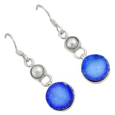 Blue druzy white pearl 925 sterling silver dangle earrings jewelry j42719