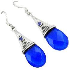 Blue jade purple amethyst 925 sterling silver dangle earrings jewelry k10636