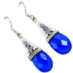 925 sterling silver blue jade purple amethyst dangle earrings jewelry k10637