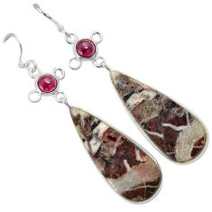 Natural bronze wild horse magnesite 925 silver dangle earrings jewelry k10843