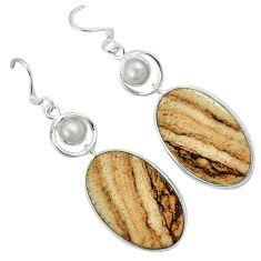 Natural brown picture jasper pearl 925 silver dangle earrings jewelry k10865