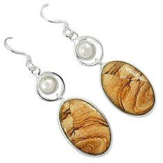 Natural brown picture jasper pearl 925 silver dangle earrings jewelry k10866