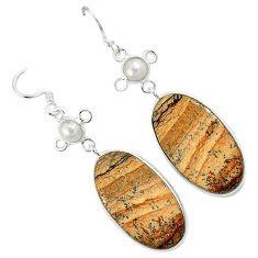 Natural brown picture jasper white pearl 925 silver dangle earrings k10872