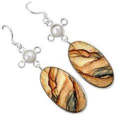 Natural brown picture jasper pearl 925 silver dangle earrings jewelry k10873