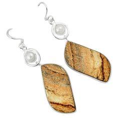 Natural brown picture jasper pearl 925 silver dangle earrings jewelry k10875
