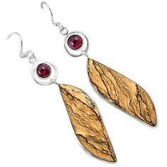 Natural brown picture jasper garnet 925 silver dangle earrings jewelry k10876