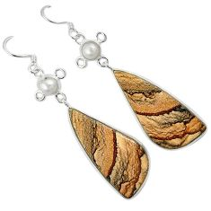 Natural brown picture jasper white pearl 925 silver dangle earrings k10877