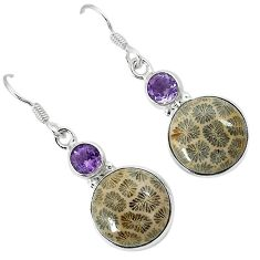 Natural black fossil coral (agatized) petoskey stone 925 silver earrings k11782