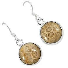 Natural black fossil coral (agatized) petoskey stone 925 silver earrings k11796