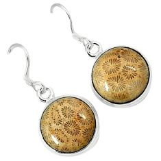 Natural black fossil coral (agatized) petoskey stone 925 silver earrings k11800