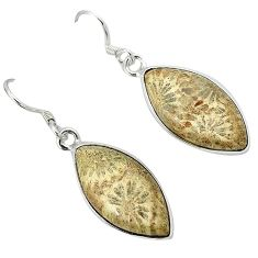 Black fossil coral (agatized) petoskey stone 925 silver dangle earrings k14304