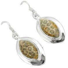 925 silver black fossil coral (agatized) petoskey stone dangle earrings k14306
