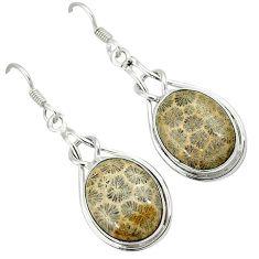 Black fossil coral (agatized) petoskey stone 925 silver dangle earrings k14308