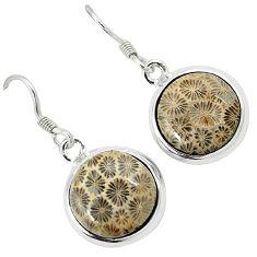 Black fossil coral (agatized) petoskey stone 925 silver dangle earrings k14309
