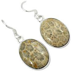 Black fossil coral (agatized) petoskey stone 925 silver dangle earrings k14310